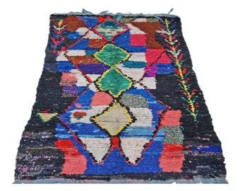 "81.5"" x 50"" | Dark Seas Boucherouite Moroccan Rug Vintage"