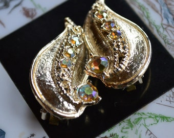 Gold tone AB earrings - Leaf Delight