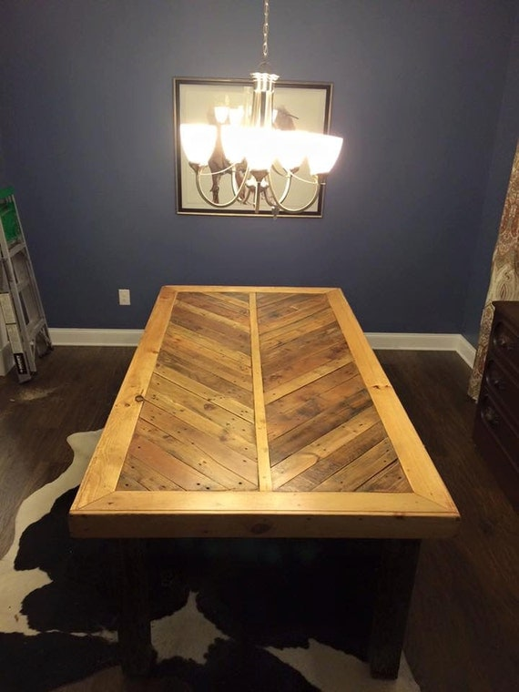 Pallet wood dining room table by urbanpalletdesigns on etsy for Dining room tables etsy