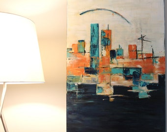 mid-century modern art abstract skykline original painting - mcm boomerang retro