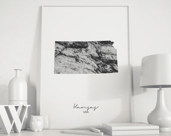 Kansas state, Kansas map, Rock art, photo art, Black White Photography, Minimalist art, black and white prints, Kansas city, Kansas print