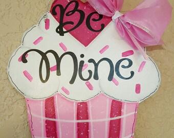 Valentine Cupcake Wood Decor, Valentine's Day Keepsake, Valentine Cupcake