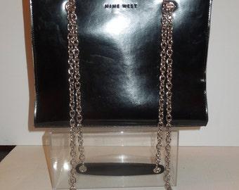 Vintage Nine West Black Leather frame-like purse with Double Silver Chain Shoulder Strap