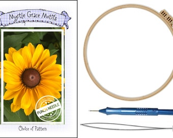 Punch Needle Kit!:  Cameo Punch Needle, Locking Hoop, Threader and Choice of Punch Needle Pattern