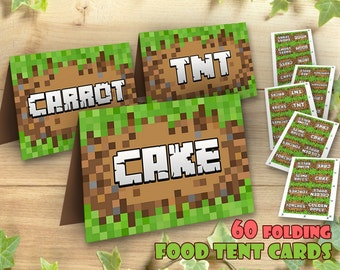 Mine Themed Food Tent Cards, Table Signs Bag Toppers Video Game Food Tent Cards Tags Printable Mineventure Party Kit Set, Instant Download