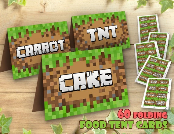 Mine Themed Food Tent Cards Table Signs Bag Toppers Video