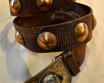 Custom Leather Concho Belt