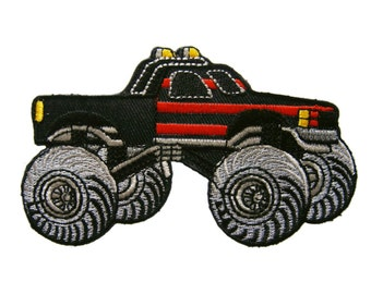 Black Monster Truck Embroidered Applique Iron on Patch