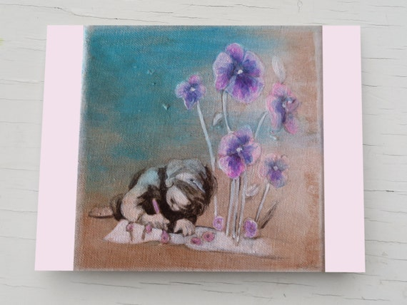 Viola flowers, birthday card, fathers day, purple flower, floral  card, card for friends, for art teachers, graduation, dad, from daughter
