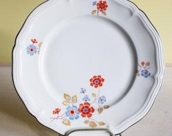 Rosenthal, Bavaria, Chippendale, set of 2 large dinner plates, spring, orange, blue, classic design, German crockery, vintage, silver brim