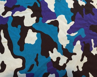 36 Width Blue Camouflage Fabric 4 Way Stretch
