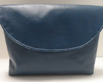 Blue Suede Medium Clutch Purse