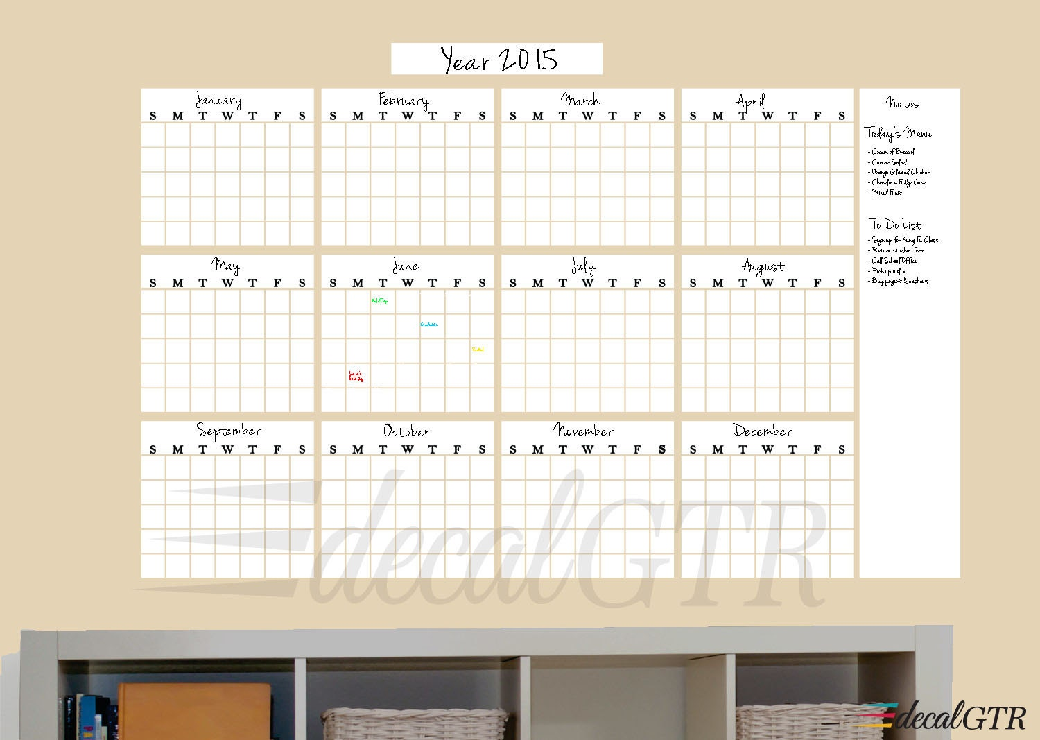 48x73 Dry Erase Yearly Calendar Decal White Board Year