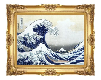 The Great Wave at Kanagawa Katsushika Hokusai Asian Art Print Framed Canvas Wall Artwork Japanese Seascape - Sizes Small to Large - M00758