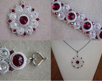 Jasmine Pendant and Bracelet Tutorial, Beadweaving, Jewelry Pattern, Swarovski Rivoli, Beading Instructions, PDF, Instant Download,
