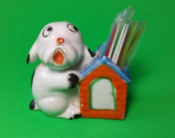 FREE SHIPPING, Dog Toothpick Holder, Small Dog Vase, Dog Figurine, Animal Figurine, Made In Japan