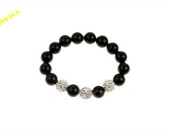 Womens Bracelets,Black Onyx Bracelet,Womens Black  Bracelet,Crystal Beads Bracelet,Bracelets for Women,Buddhist Bracelet ,Stone Bracelet