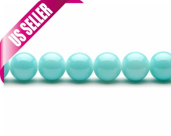 powder blue glass pearls 4-16mm solid-tone glass beads 6mm 10mm 12mm glass pearl beads round