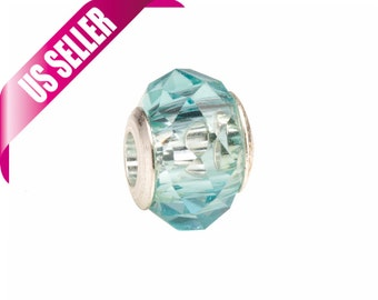 Aquamarine faceted beauty glass Pandora Style beads Fits Pandora Style Bracelet / Necklace European style charms 9.5x13.5mm 4pcs