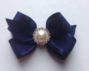 Girls hair bow, hair clip, baby hair bow, bling bow, navy hair bow, navy bow, sheer bow, small bow, layered bow, blue bow, girls bow
