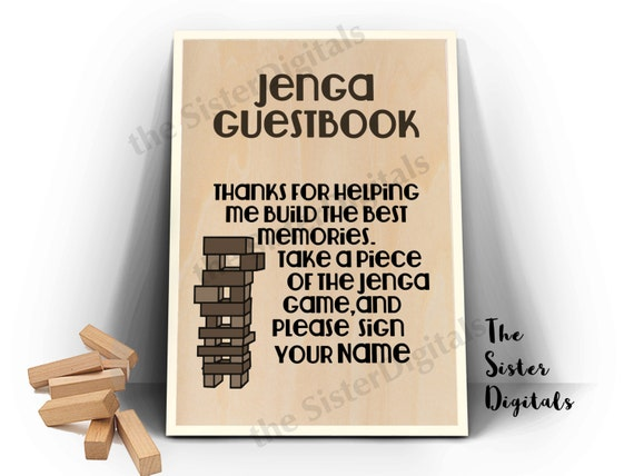 Graduation jenga guestbook graduation guest book sign for Help me build a house