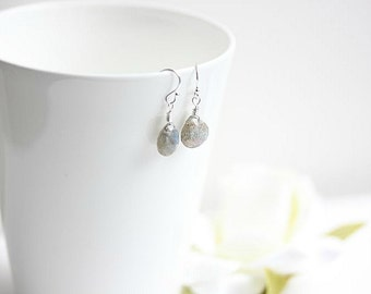 Labradorite Earrings in Sterling Silver - Gray Labradorite gemstone briolette earrings in Sterling Silver or Gold filled