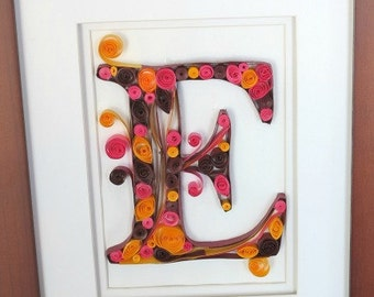 Quilled Monogram E in Frame