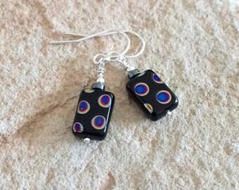 Black drop earrings, polka dot earrings, Czech glass rectangle bead earrings, silver drop earrings, dangle earrings, hematite earrings