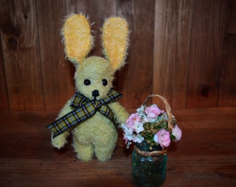 Stevie the OOAK green mohair rabbit.