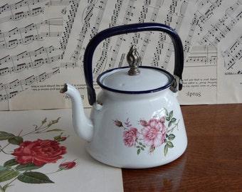 Vintage Enamel Teapot, Good condition.Retro, Shabby chic, Blue, White, Floral Teapot,Farmhouse, Made in Poland.
