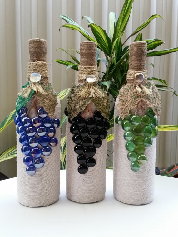 Items similar to TWINE WRAPPED WINE Bottles on Etsy