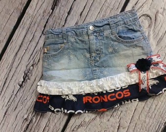 Broncos jean skirt, Repurposed jean skirt, Denver Broncos NFL Football little cheerleader skirt