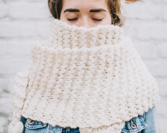 The Traveling Scarf | Knit Scarf | Extra Large Knitted Scarf | Tasseled Scarf | Oversized Knitted Scarf | Knit Cowl |