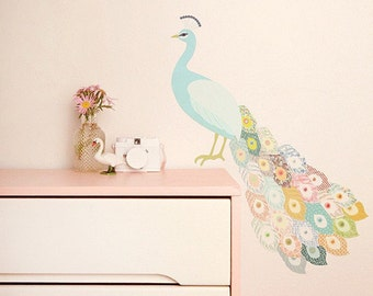 Fabric Wall Decal - Peacock Plumage (reusable) NO PVC