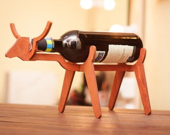 Wooden Wine Holder Bull Wine Gift Ideas Wooden Wine Rack Wine Bottle Holder Wine accessories Bottle rack Wine Stand Wine Glass Holder