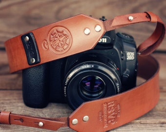 SALE 10% OFF Custom Leather Camera Strap, Handmade personalized gift, Brown stain, retro, hipster, compass, Custom text, name initials