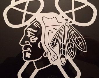 "Chicago Blackhawk Decal 7.5""x8"""