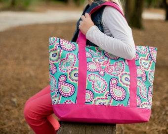 Monogram Paisley Tote Bag | Pink Paisley Bag | Pretty Tote Bag | Graduation Gift | Birthday Gift
