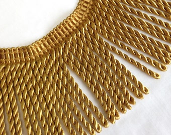 Large Gold Fringe, 6 inches, rayon, offering it in 2 yard lots, 12 lots available.