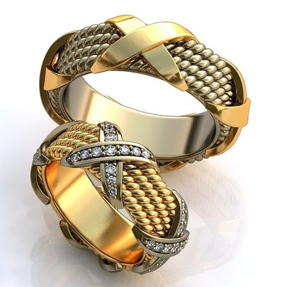 modern cross wedding bands his and hers promise by worldofgold