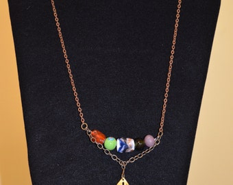 Bohemian style beaded necklace with leaf