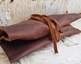 Small Leather Pipe & Tobacco Pouch