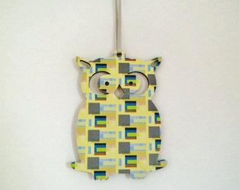 Wooden Owl Decoration - geometric, print pattern, surface pattern, digital print, textile design, graphic design, illustration, collage
