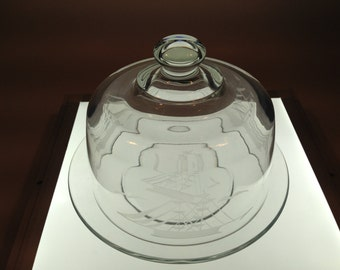 Vintage Etched Glass Cheese Dome With Matching Plate From Circa 1970's