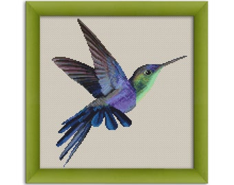 "PDF Cross Stitch Pattern ""Hummingbird""  Instant Download"