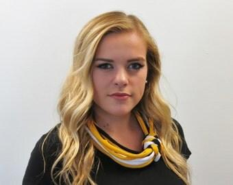 Pittsburgh Steelers, Pirates, Penguins, Mizzou, Iowa Hawkeyes, necklace scarf, black, yellow, and white scarf, stocking stuffer, team spirit