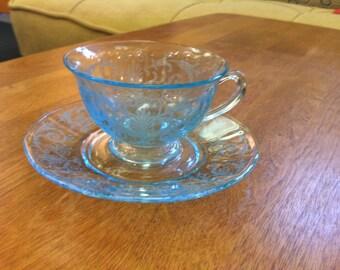 Fostoria Azure Versailles Cup and Saucer