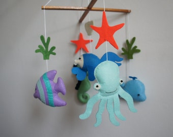 Ocean seahorse, whale, Octopus and fish mobile