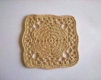 Crochet Square Doily, Square Coaster Crochet, Crochet Beige Coasters, Beige Doily, Crochet Square Pad, Beige Cup Pad, Earth Color Coaster