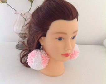 Baby pink and white large pom pom earings